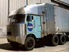 A cab-over tractor-trailer modified by rounding its front corners and edges was part of a first phase of aerodynamic truck research. The 1970s-era program was honored recently by the Space Foundation at its 25th annual national symposium.