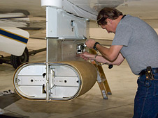 Large Area Collector sensor is readied for a cosmic dust collection flight on the ER-2.