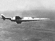 X-3 in flight, which made significant contributions to knowledge about inertial coupling