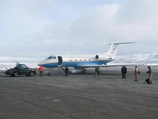 NASA Dryden's Gulfstream III research aircraft on the ramp at Thule, Greenland.
