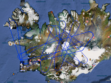 The blue lines superimposed over a Google Earth image of Iceland shows the tracks flown by NASA's Gulfstream III science research aircraft
