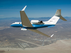 The UAVSAR underbelly pod is in clear view as NASA's Gulfstream-III research aircraft banks away over Edwards AFB during aerodynamic clearance flights.