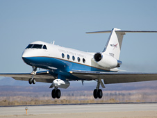 NASA's Gulfstream-III research testbed lifts off with the UAV synthetic aperture radar pod.