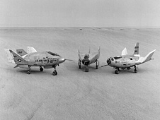 3 Lifting Bodies on lakebed (X-24A, M2-F3, HL-10)