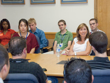 NASA Deputy Administrtor Lori Garver, second from right, spoke to Dryden student workers and new employees to gain insight into how young people think.