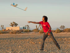 Zouhair Mahboubi of Stanford University launches the team's battery-powered AA241X UAV on a record altitude flight attempt just after dawn.