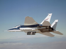 The NASA F-15B carries an experiment to flight conditions.