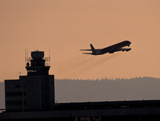A commercial airline takes off from an airport