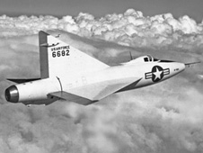 XF-92A flying in clouds