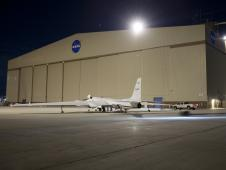NASA's ER-2 number 806 arrived at the Dryden Aircraft Operations Facility in Palmdale, Calif., after a brief night proficiency flight by research pilot Denis Steele on Jan. 11, 2010