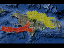 Red and yellow areas show the wide areas of Haiti and the Dominican Republic where NASA's UAVSAR airborne radar is creating 3-D maps of earthquake fault displacement.