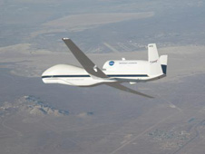 global hawk flying over desert