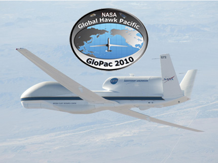 global hawk in flight with glopac logo