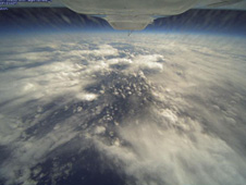 Photo of cloud formations over the North Pacific Ocean from an altitude of 58,000 feet taken by HD-Vis camera during the first data collection flight in the Global Hawk Pacific (GloPac) environmental science campaign on April 7.
