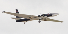 NASA ER-2 Earth resources aircraft # 809 carrying the AVIRIS spectrometer and the Cirrus Digital Camera System heads aloft under grey skies on another survey mission over the Gulf of Mexico oil spill May 13.