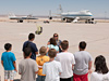 Aeronautics workshop students view NASA's F-15B research aircraft.