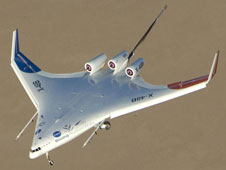 The X-48B blended wing body research aircraft performing flight test at NASA's Dryden Flight Research Center.