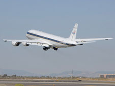NASA's DC-8 flying laboratory takes off from its base at the Dryden Aircraft Operations Facility in Palmdale for the IceBridge Mission. The flights for the mission are based in Punta Arenas, Chile.