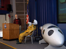 Former Dryden pilot Einar Enevoldson spoke at two colloquium sessions at Dryden on Feb. 25.