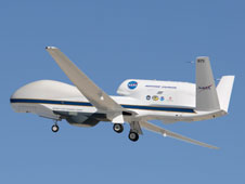 NASA's Global Hawk soars aloft from Edwards Air Force Base, Calif. The aircraft concluded the WISPAR environmental science flight campaign with a 25-hour flight March 10.