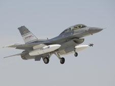 The F-16D test aircraft takes off from Edwards Air Force Base during the Automatic Collision Avoidance Technology flight test project in June 2009. (NASA photo/Tom Tschida)