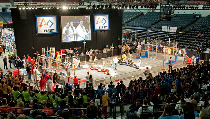 High School Robotics teams square off.