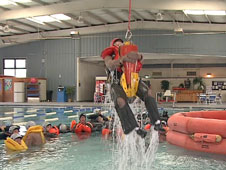 water rescue training in swimming pool