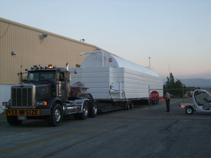 First of three 50,000 gallon portable fuel tanks arrive at the DAOF.