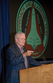 Retired NASA astronaut and research pilot Fred Haise detailed his flights in the space shuttle Approach and Landing Tests in 1977 during an historical colloquium at NASA Dryden Aug. 11. Haise considered his involvement in that program a highlight of his 20-year career with NASA.