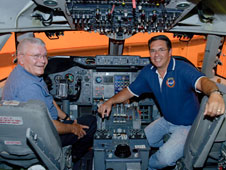 Retired NASA astronaut and test pilot Fred Haise was more than ready for some left-hand seat flying time when he was given a personal tour of the NASA / DLR Stratospheric Observatory for Infrared Astronomy (SOFIA) by SOFIA 747SP pilot Manny Antimisiaris.
