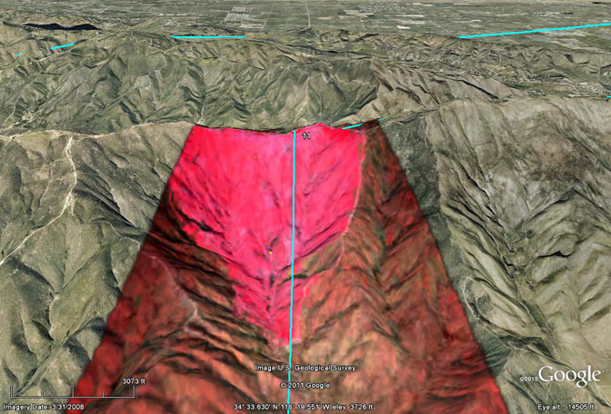 This three-dimensional image of the Mint Fire burn area on Sierra Pelona Ridge between Agua Dulce and Palmdale, Calif., was developed from infrared data recorded by the Autonomous Modular Sensor