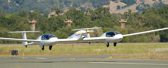 The Pipistrel-USA Taurus4 lifts off the runway during the Green Flight Challenge at the Santa Rosa Airport. The Pipistrel team won $1.3 million from NASA's Centennial Challenges program for winning the 2011 Green Flight Challenge with its unique single-motor, twin-fuselage four-place aircraft.