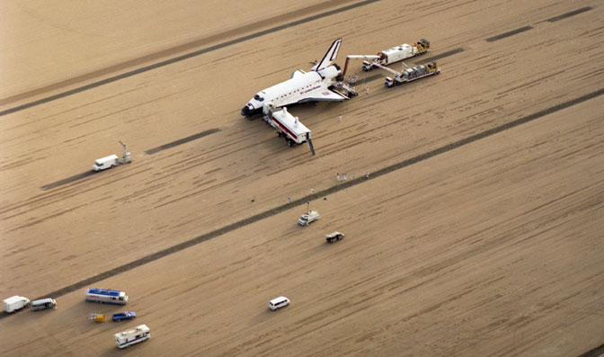 Shuttle workers were prepared to support an emergency landing at any time. One such moment came Dec. 1, 1991, with STS-44, when Atlantis landed at Dryden three days early.