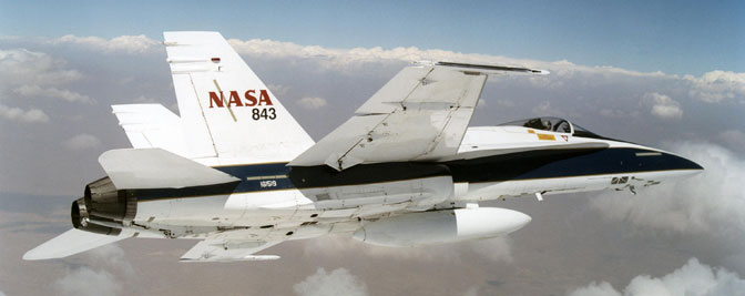 NASA Dryden F/A-18 mission support aircraft were used to create low-intensity sonic booms during the WSPR sonic boom perception and response research project.