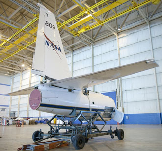 Severed from the rest of the aircraft, the tail section of NASA ER-2 No. 809 sits on a cart at the Dryden Aircraft Operations Facility in Palmdale, Calif., as the aircraft undergoes major maintenance.