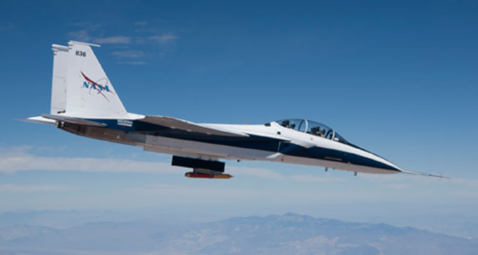 NASA Dryden's F-15B research testbed aircraft flew the CCIE experimental jet engine inlet to speeds up to Mach 1.74, or about 1.7 times the speed of sound.