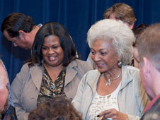 Nichelle Nichols talks with some of her fans after her presentation at Dryden.