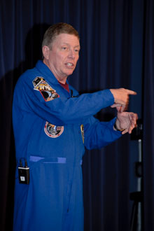 NASA astronaut Mike Fossum shared his stories about his two space shuttle missions and five months aboard the International Space Station with employees of NASA's Dryden Flight Research Center.