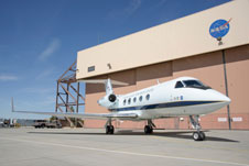 This modified Gulfstream III is the test bed aircraft for the ACTE flexible-flap research project.