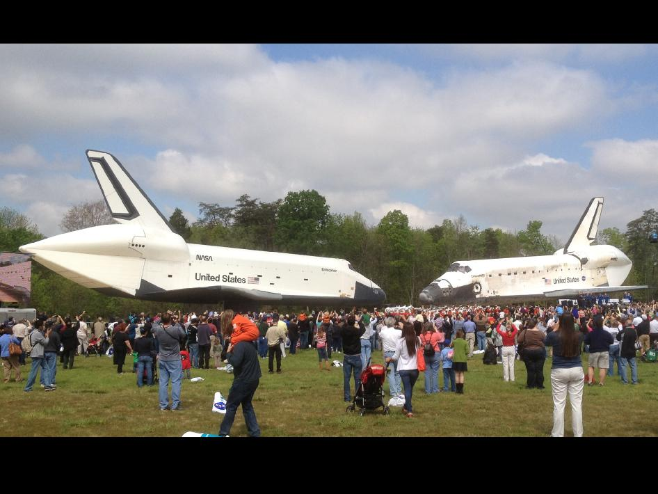 Prototype shuttle Enterprise and shuttle Discovery