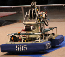 Tehachapi High's Vesuvius robot (585) scoots across the court at the FIRST Robotics regional competition in Las Vegas April 6.