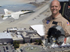 Photo montage of Dryden main complex, FA-18s flying and NASA pilot