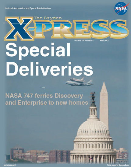 Cover of X-press featuring Shuttle Discovery flying by Washington Monument and the Capital Building in Washington D. C.