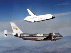 The first of Enterprise's five free flights from the NASA 747 Shuttle Carrier Aircraft at Dryden in 1977.