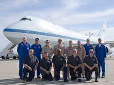 Eight of the nine pilots and flight engineers who have flown NASA's Shuttle Carrier Aircraft in recent years.