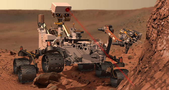 This artist's concept depicts the rover Curiosity of NASA's Mars Science Laboratory using its Chemistry and Camera (ChemCam) instrument to investigate the composition of a rock surface.