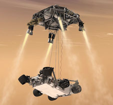 This artist's concept shows the sky crane maneuver during the descent of NASA's Curiosity rover to the Martian surface, which will is capable of delivering the large rover to a precise location on the surface.