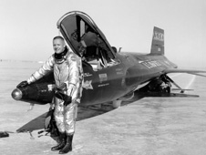Before becoming an astronaut, Armstrong flew the rocket-powered X-15 as a research test pilot at the NACA High-Speed Flight Station.