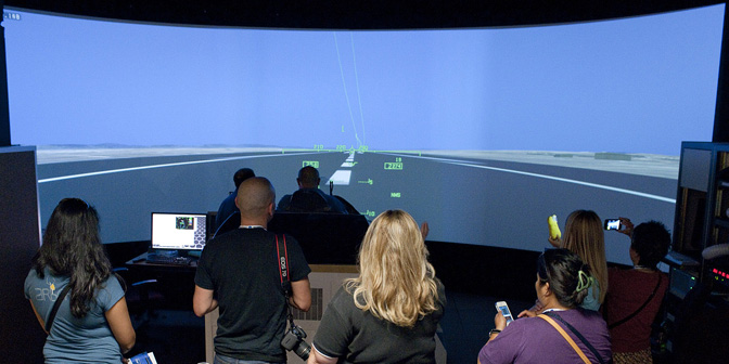 Flying the F/A-18 flight simulator was a popular diversion for social media fans attending the NASA Social at NASA's Dryden Flight Research Center Sept. 19-20, 2012