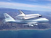 The space shuttle Endeavour and its 747 carrier aircraft soar off the California coast near Ventura as its heads to the Los Angeles area during the final portion of its tour of California Sept. 21.